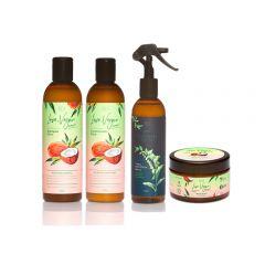 Kit Cosméticos Veganos - 1 Shampoo, 1 Condicionador, 1 Máscara e 1 Spray Queratina Pro - Abela Cosmetics