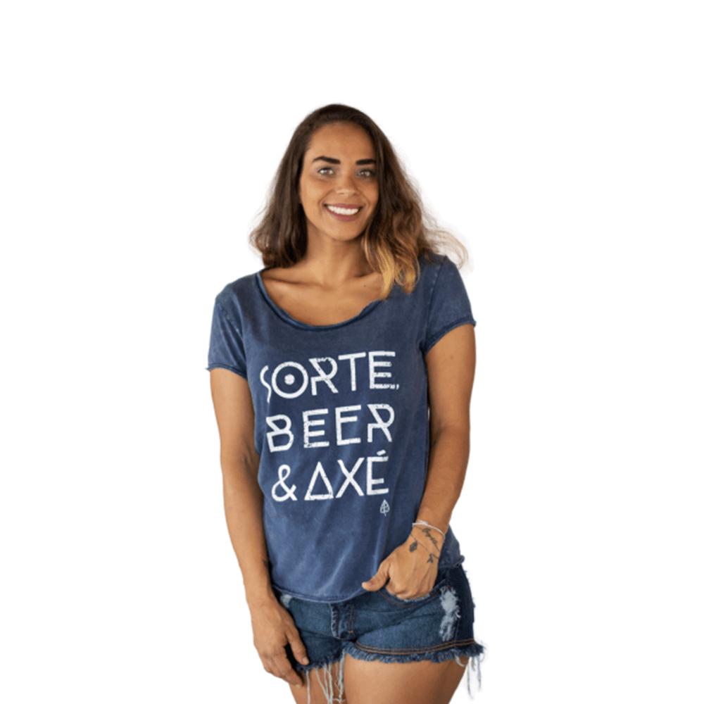 Camiseta Sorte, Beer e Axé Algodão Azul Tempt