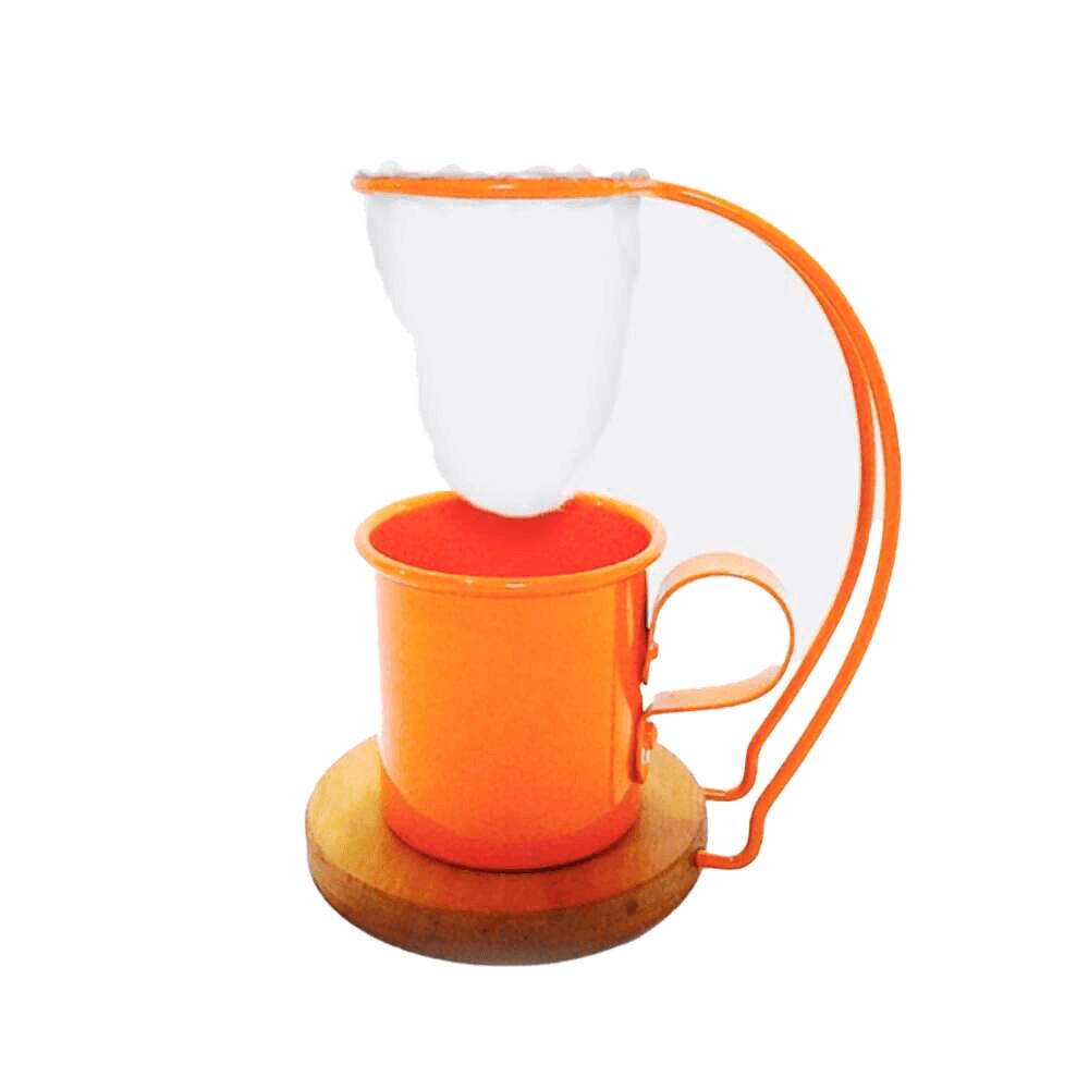 Coador de Café em Pano Reutilizável Suporte e Xícara Laranja