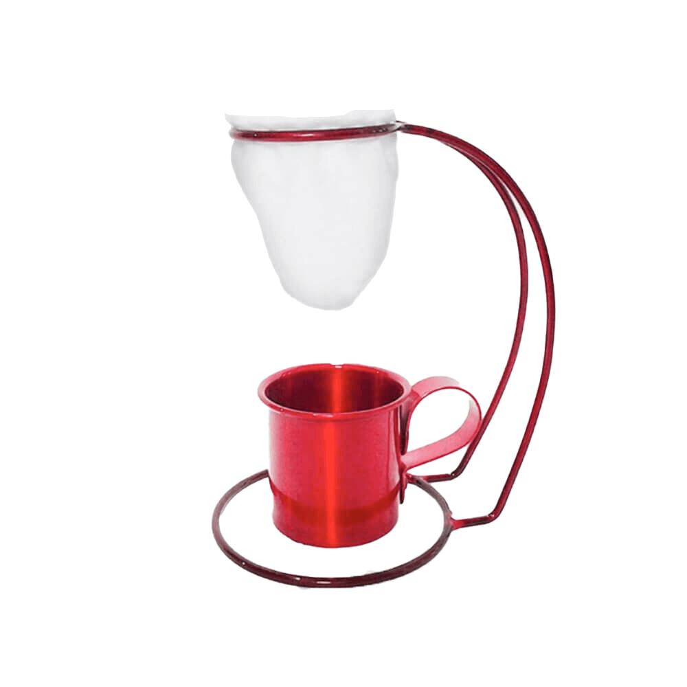 Coador de Café Pano Reutilizável Suporte e Xícara Vermelho