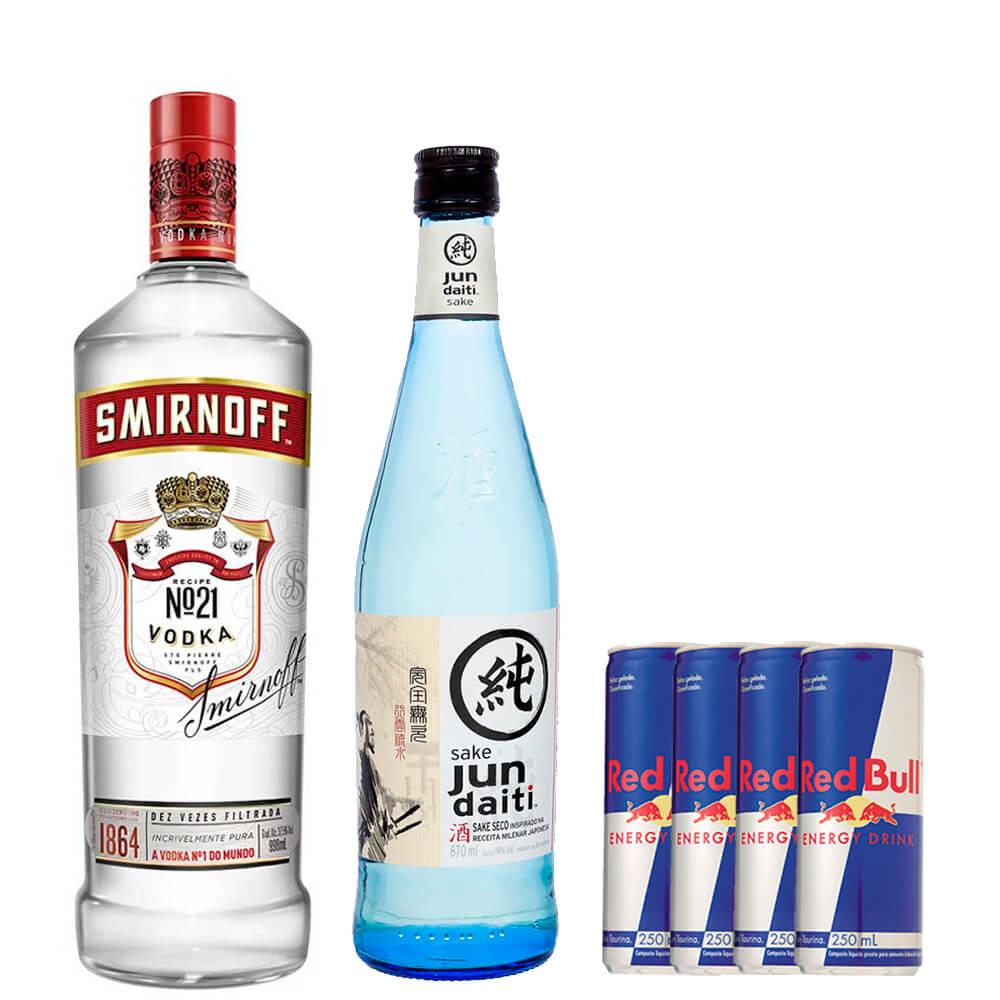 Combo de 1 vodka Smirnoff com 1 Saquê Jun Daiti e 4 energéticos Red Bull