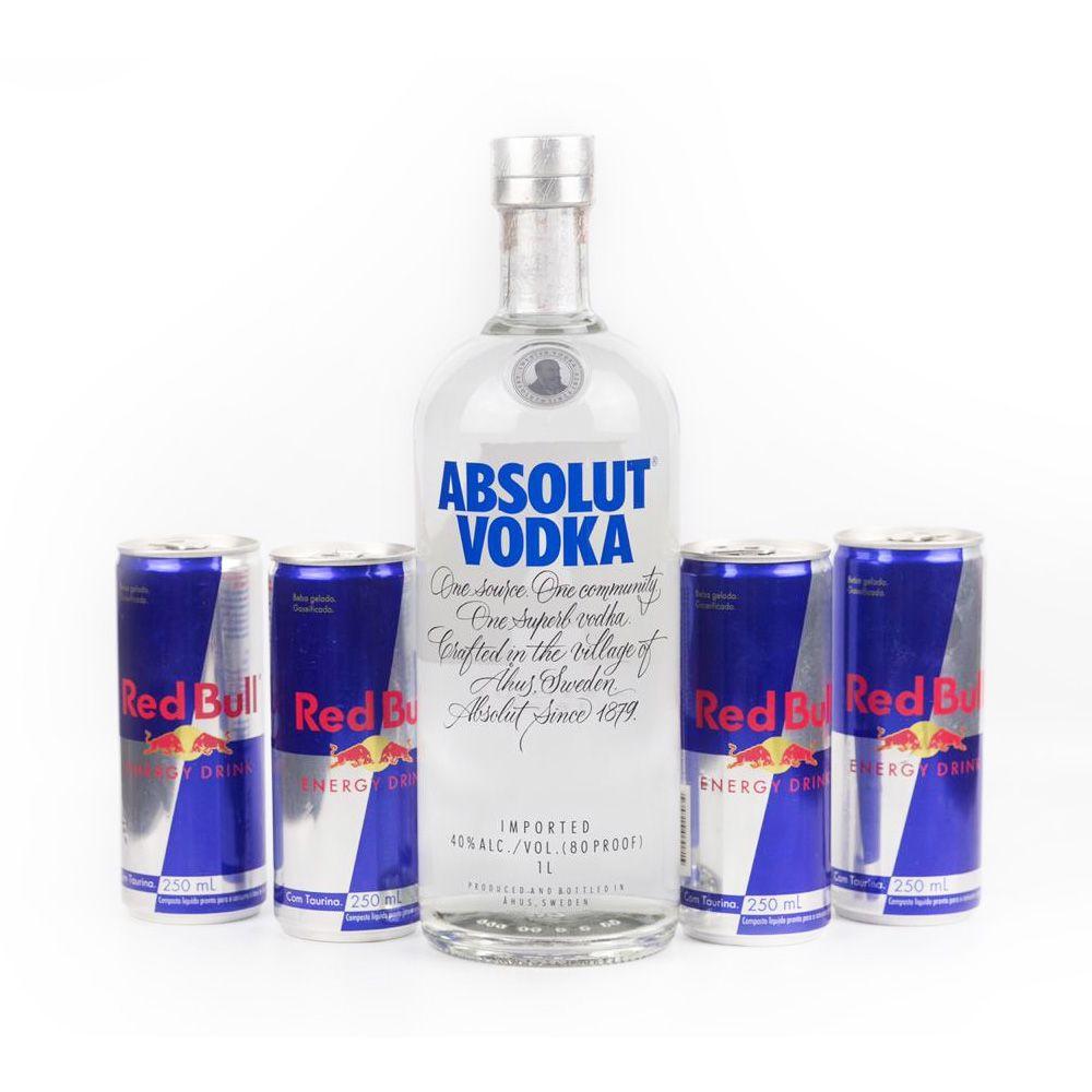 Combo de 1 vodka Absolut com 4 energéticos Red Bull