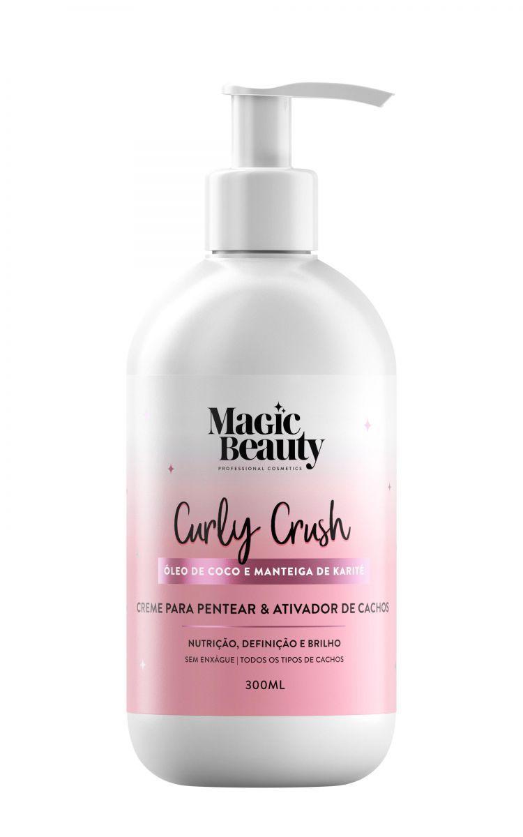 Creme Para Pentear E Ativador De Cachos Cabelos Cacheados Linha Curly Crush 300ml Magic Beauty Pro