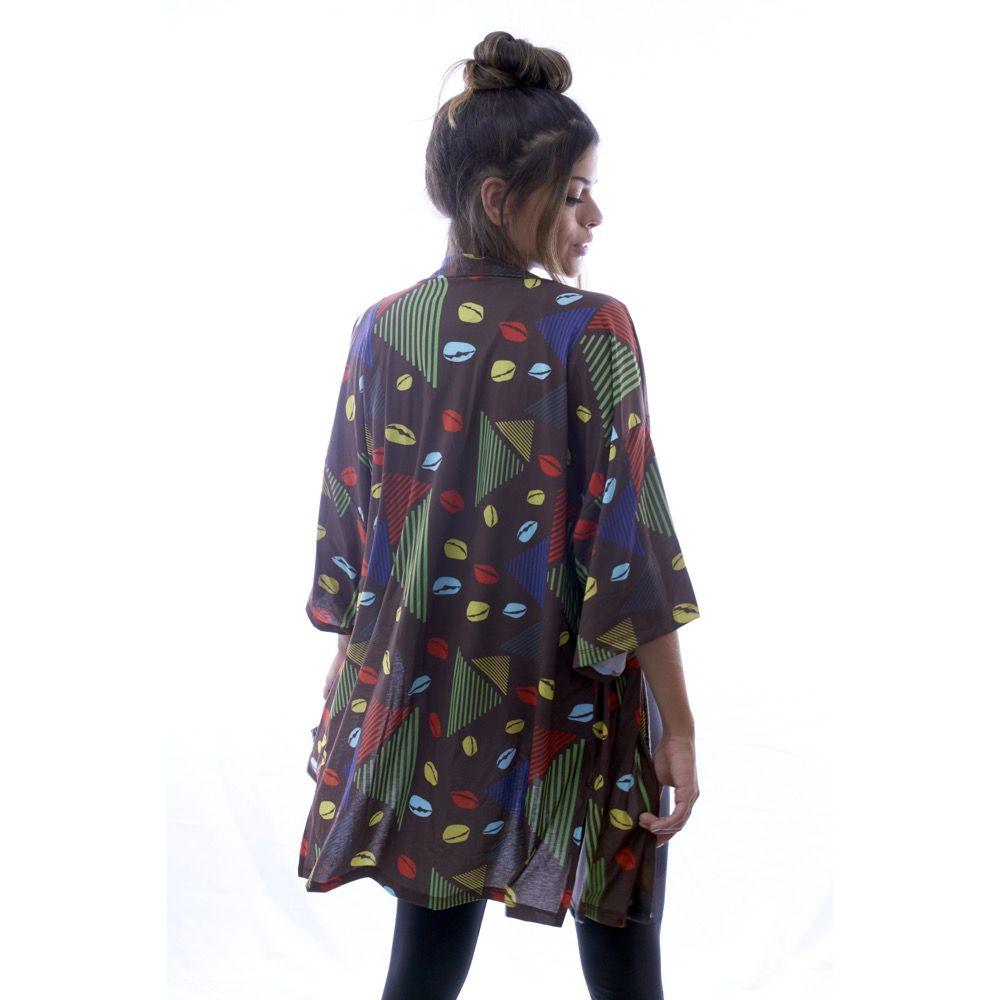 Kimono Marrom Estampado - Nepan