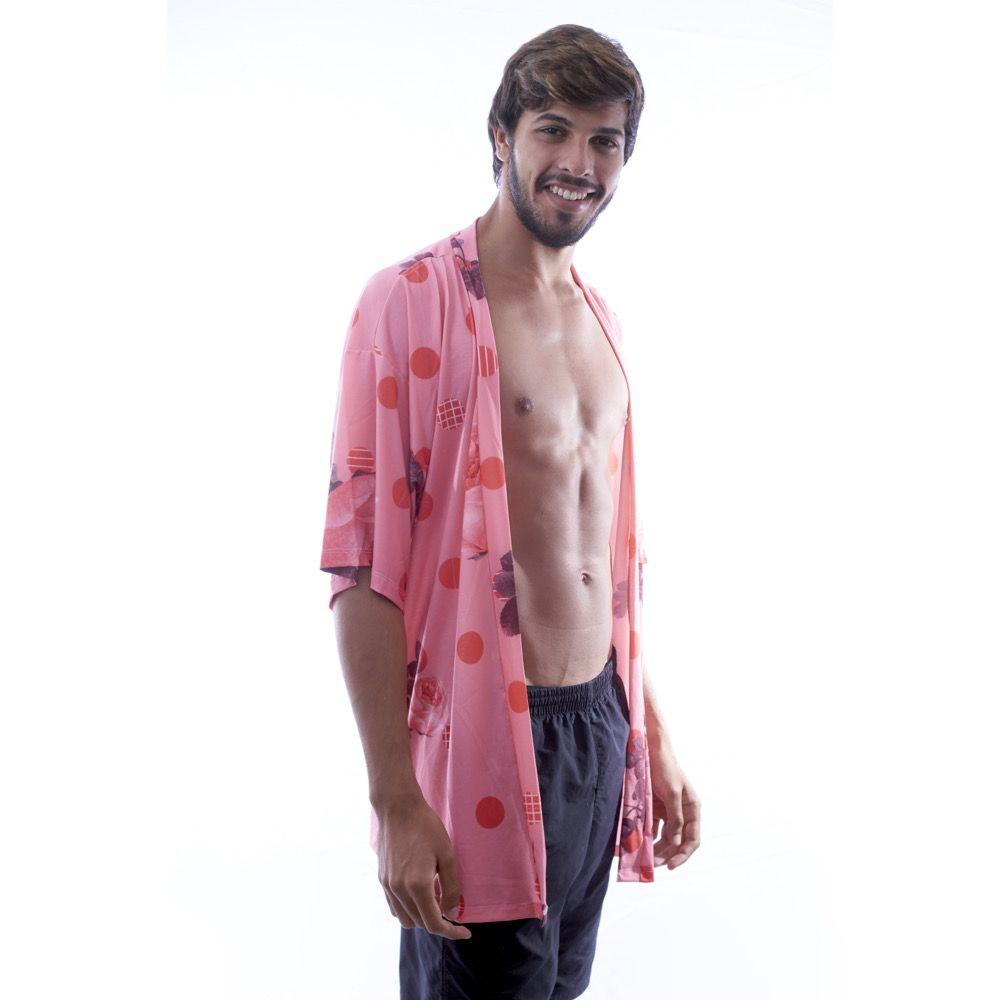 Kimono Rosa Estampa Florida  - Nepan