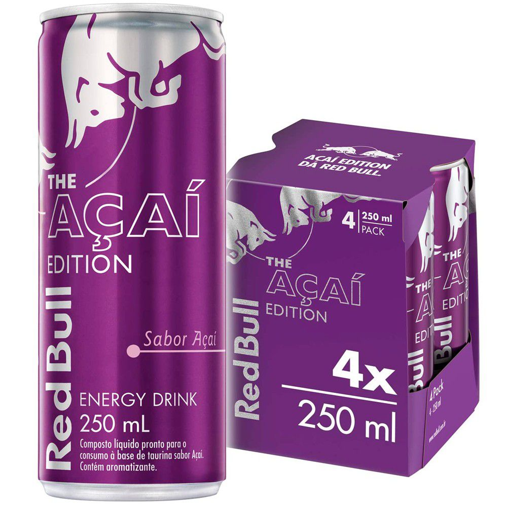 Kit 4 Latas Energético Açaí Edition 250ml - Red Bull