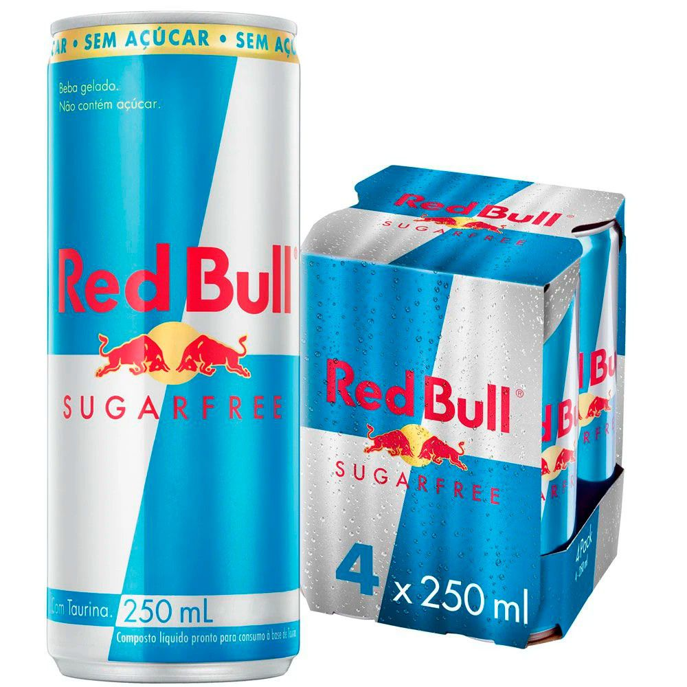 Kit 4 Latas Energético Sugarfree Sem Açúcar 250ml - Red Bull