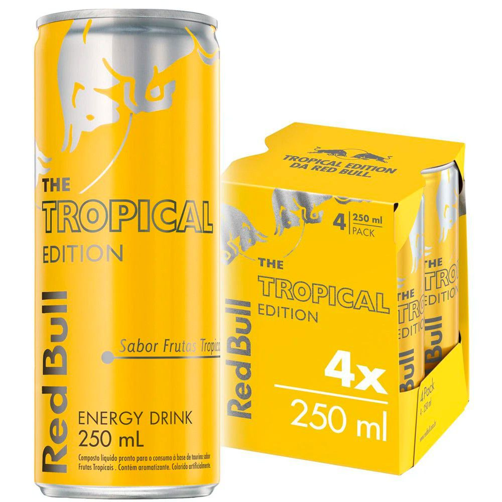Kit 4 Latas Energético Tropical Edition 250ml - Red Bull