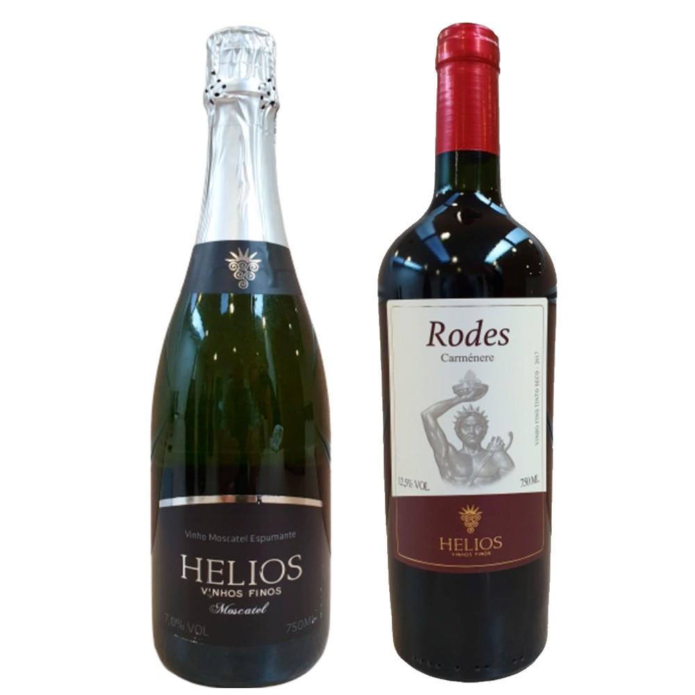 Kit 1 Espumante Moscatel e 1 Vinho Tinto Rodes Carménère - Vinícola Helios