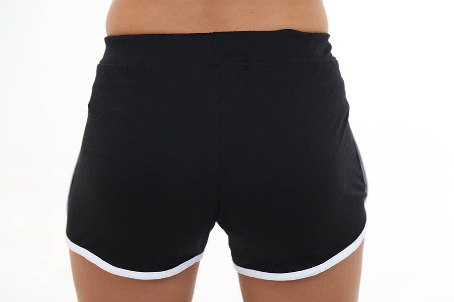 Short Básico Feminino Preto com Branco - roox