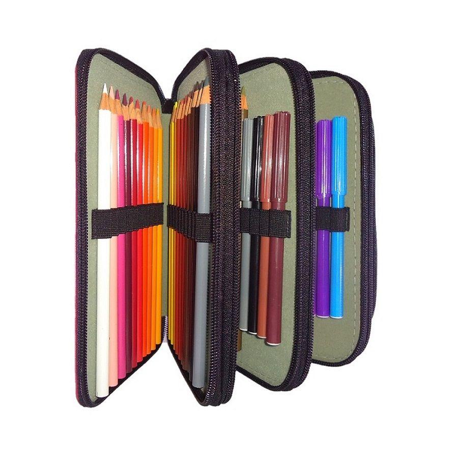 Estojo Escolar Arplas, de 4 zíperes, para 76 lápis, em Courvim, vazio - 826