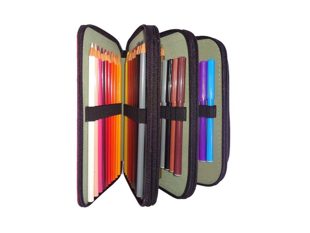 Estojo Escolar Arplas para 76 lápis, em Couro Sintético