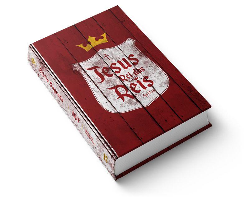 Bíblia NVT Rei dos Reis Brasão Vermelho - Letra Grande