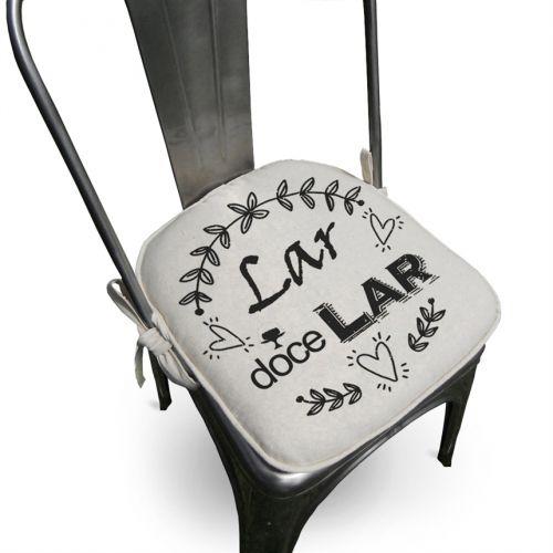 Almofada Assento Para Cadeira Algodão Lar 40x40cm - Ecaza