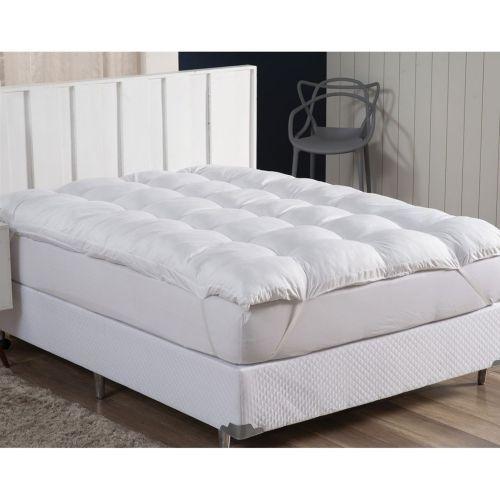 Pillow Top Casal Fibra Siliconizada Em Flocos Branco - ECAZA