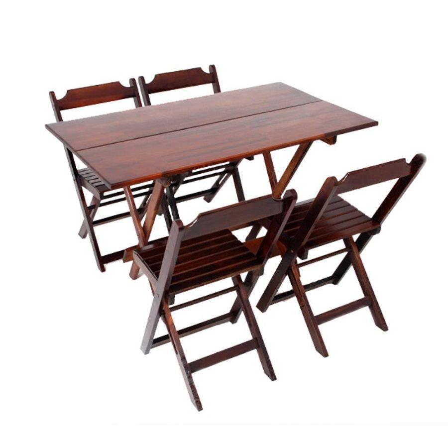 Conjuntos Mesa Bar Dobrável Madeira 120x70 4 Cadeiras