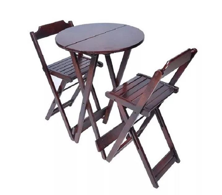 Mesa Bar Bistrô 2 Cadeiras Dobrável Em Madeira