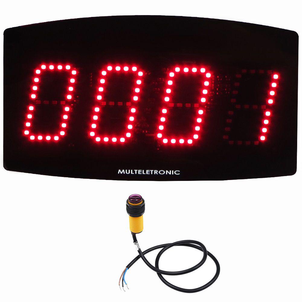 Contador Digital de Peças Industrial Multeletronic com Sensor até 30cm