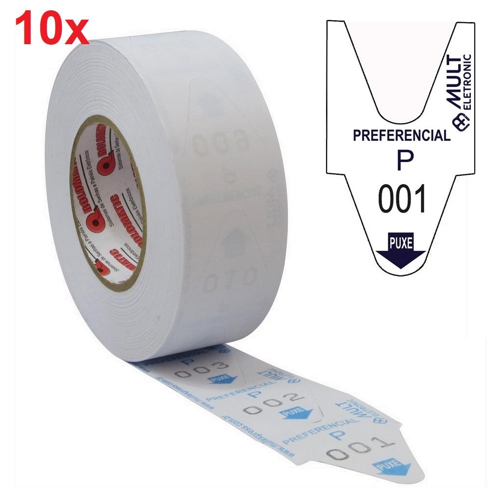10x Rolo Bobina 2000 Senhas 3 Dígitos Atendimento Preferencial Azul