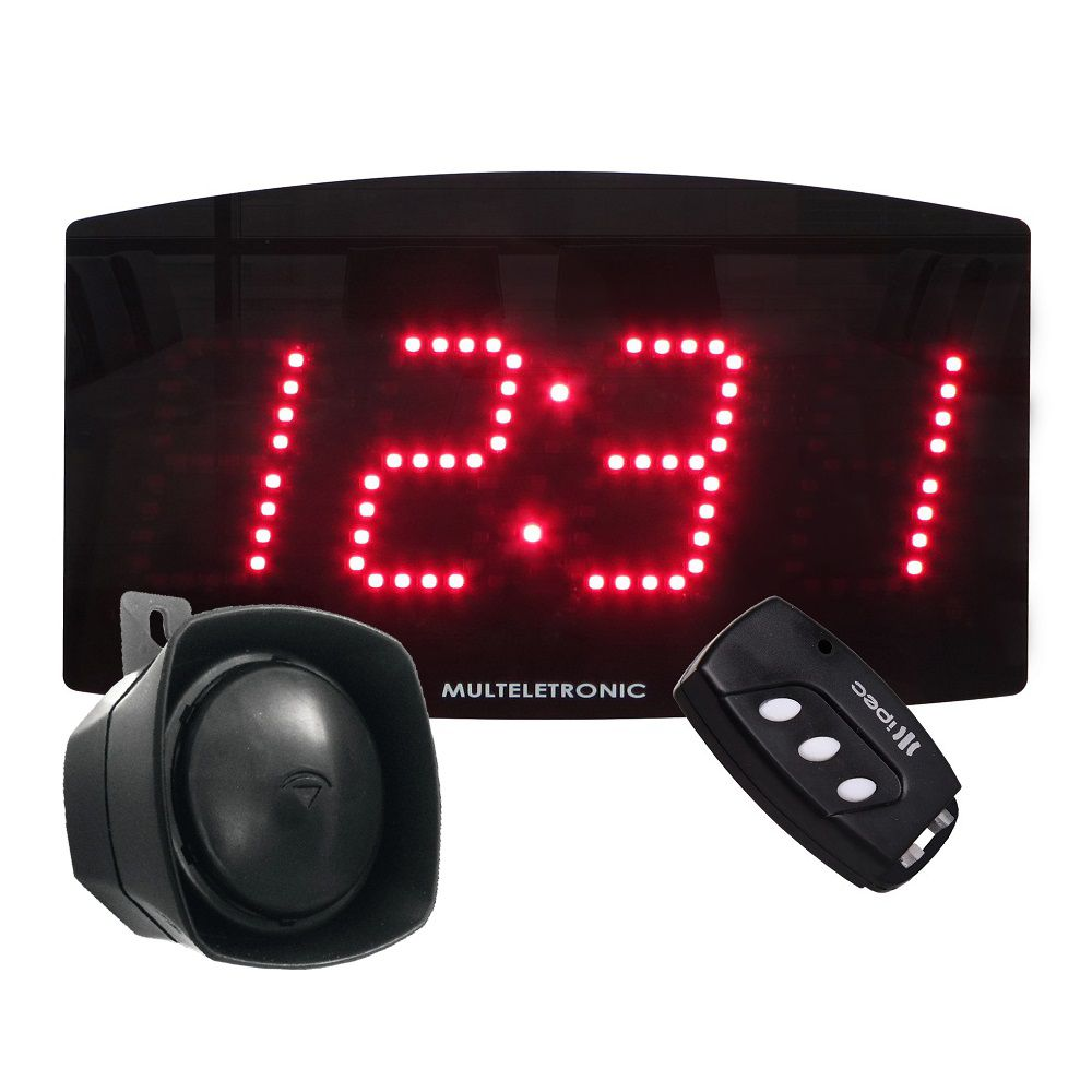 Painel Relógio LED Industrial Multeletronic com Sirene Vermelho