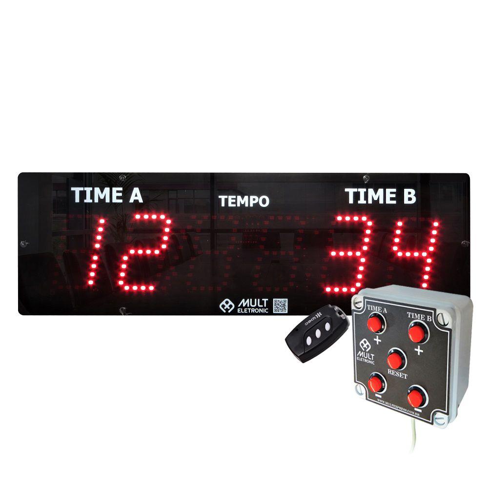 Placar Eletrônico Esportivo Multeletronic 38x12cm com Botoeira Fixa Vermelho