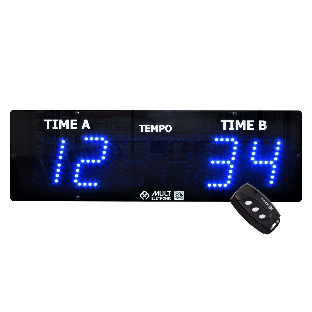 Placar Eletrônico Esportivo Multeletronic 38x12cm com Controle Sem Fio Azul