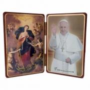 Adorno de Mesa Italiano Nossa Senhora Desatadora dos Nós e Papa Francisco