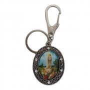 Chaveiro Oval Mosquetão Nossa Senhora de Fátima