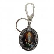 Chaveiro Oval Mosquetão Nossa Senhora de Lourdes