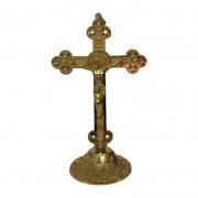 Crucifixo de Mesa São Bento com Pérola 15cm