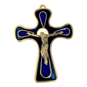 Crucifixo de Parede 13cm Italiano Azul