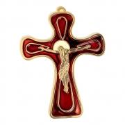Crucifixo de Parede 13cm Italiano Vermelho