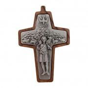 Cruz Papa Francisco em Madeira de Oliva 8 cm