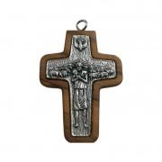 Cruz Papa Francisco em Madeira de Oliva 4,5 cm