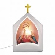Luminária de Mesa Oratório Iluminada Sagrado Coração de Maria