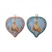 Medalhão de Berço Coração Menino Jesus 8,5x9cm