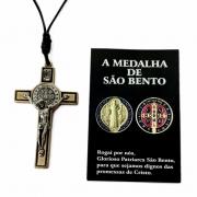 Pingente Crucifixo de São Bento Dourado 7 cm