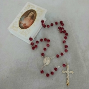 Terço de Cristal com Porta Terço Sagrado Coração de Jesus