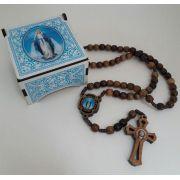 Terço Nossa Senhora das Graças em Madeira com Porta Terço (azul)