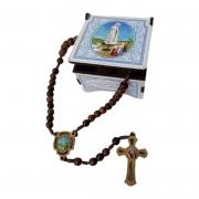 Terço Nossa Senhora de Fátima Madeira com Porta Terço