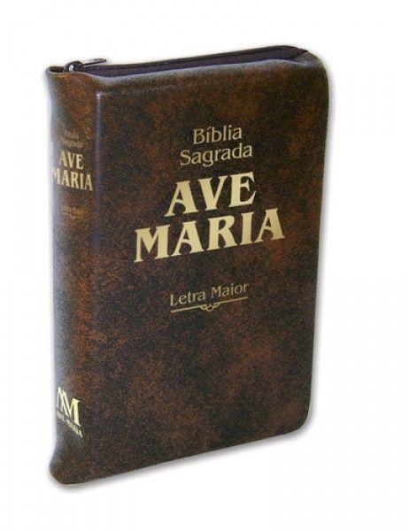 Bíblia Sagrada Ave-Maria - Letra Maior - Marrom Zíper