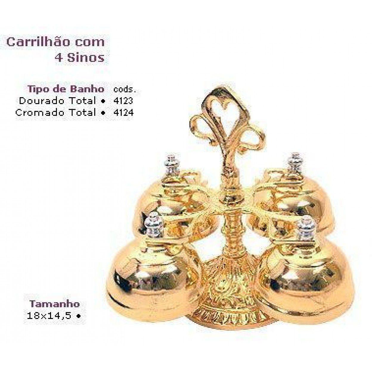 CARRILHÃO 4 SINOS DOURADO 4123