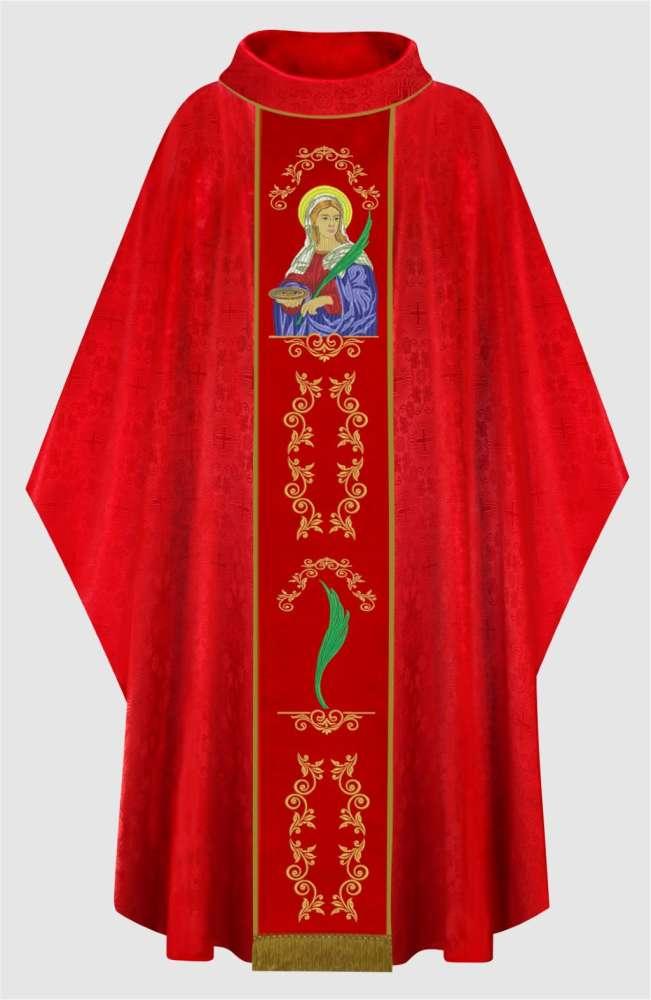 Casula Bordada Santa Luzia Vermelha