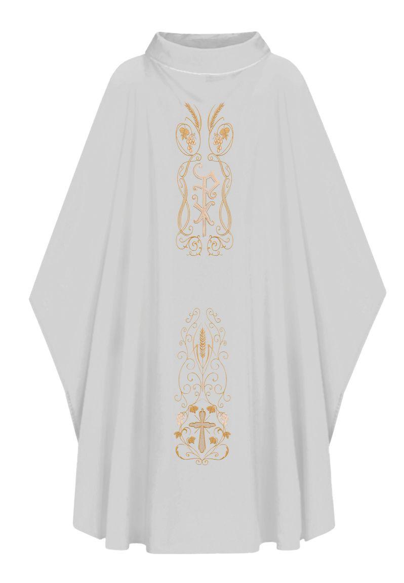 Casula com Estola Bordada Branca - Oxford 501.200Branco