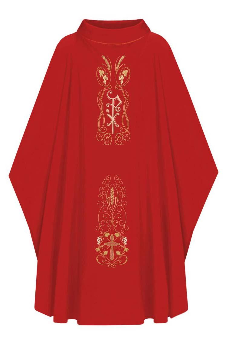 Casula com Estola Bordada Vermelha - Oxford 501.200Vermelho