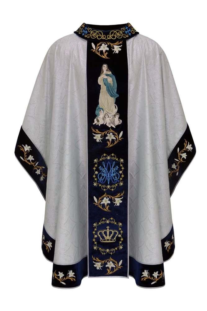 Casula em tecido brocado Galão e Gola de outra cor c/ bordado de Santo