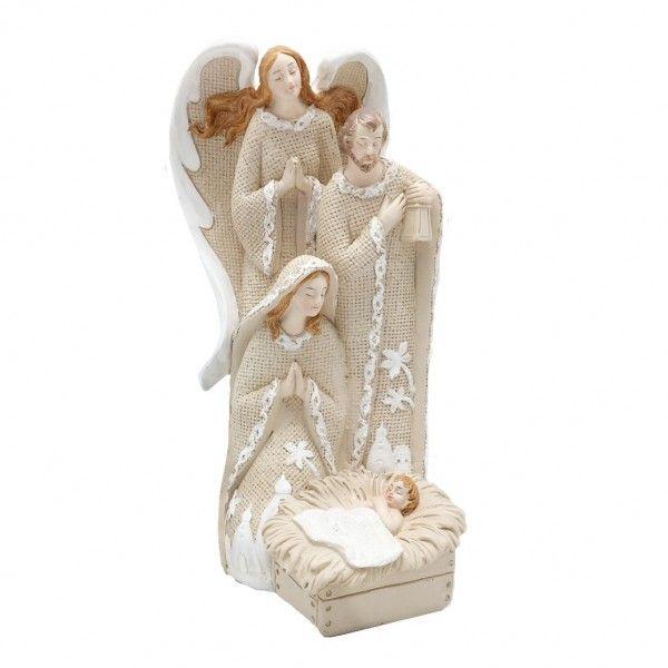 Sagrada Família com Anjo 18cm