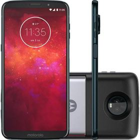 "Smartphone Motorola Moto Z3 Play - Power Pack & Dtv Edition Dual Chip Android Oreo - 8.0 Tela 6"" Octa-Core 1.8 GHz 64GB 4G Câmera 12 + 5MP (Dual Traseira) - Índigo"