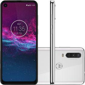 "Smartphone Motorola One Action 128gb Dual Chip Android Pie 9.0 Tela 6.34"" 4G Câmera Tripla 12MP+5MP+16MP - Branco Polar"