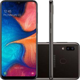 "Smartphone Samsung Galaxy A20 32GB Dual Chip Tela 6.4"" Octa-Core 4G Câmera Dupla 13MP + 5MP Android 9.0  - Preto"